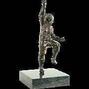 Bronze Vintage Sculpture of a Running Boy, Marble Base