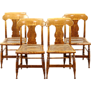 Set of 4 Antique 1830 Tiger Birdseye Curly Maple New England Dining Chairs