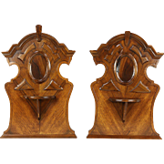 Pair Architectural Salvage Italian Walnut Antique Crests