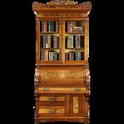 Victorian Eastlake 1885 Antique Cylinder Roll Top Secretary Desk & Bookcase