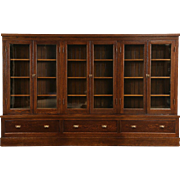 "Oak Arts & Crafts 1900 Antique Bookcase, Pantry or Display Cabinet 8' 8"" Wide"