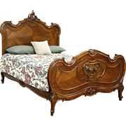 French Antique Roses & Shell Carved Walnut Full Double Size Bed