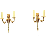 Pair Classical Gold Dore Finish Double Light Wall Sconces or Fixtures