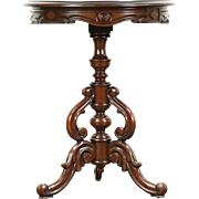 Victorian Style 1930 Vintage Carved Walnut Pedestal Lamp or End Table