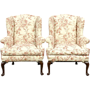 Pair of Georgian Style Mahogany Wing Chairs, Down Cushions, Recent Upholstery