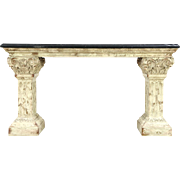 Marble Top Hall Console or Sofa Table, Classical Faux Stone Base