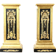 Pair of Classical Florentine Gold & Black Pedestals for Art or Plants