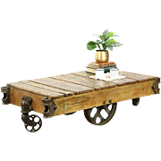 Industrial Salvage 1930 Vintage Factory Cart or Coffee Table, Rushville, IN