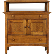 Art & Crafts Mission Oak Antique Craftsman Sideboard Server, Gallery & Mirror