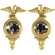 LaBarge Signed Pair of Federal Style Gold Eagle Convex Mirrors