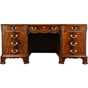 Carved Mahogany 1930's Vintage Executive or Library Desk, Signed Rishel