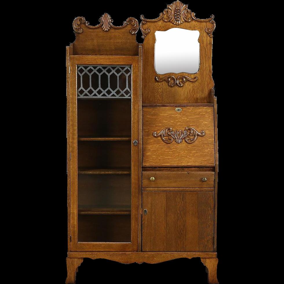 Victorian Oak Antique Side by Side Secretary Desk Bookcase, Beveled from harpgallery on Ruby Lane