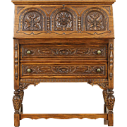 English Tudor Carved Oak 1920 Antique Secretary Desk, Signed Rockford
