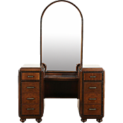 Vanity or Dressing Table, 1935 Art Deco Walnut & Burl, Arched Mirror