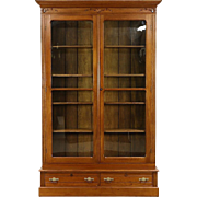 "Victorian Eastlake 8' 7"" Tall Carved Walnut Antique 1890 Library Bookcase"