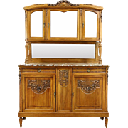 French Antique Carved Sideboard & China Cabinet, Marble Top, Beveled Glass