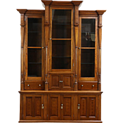 Victorian Antique 1880 Walnut Triple Library Bookcase, Wavy Glass Doors
