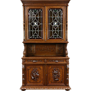 Black Forest Antique Carved Oak Sideboard & Cupboard, Stained Glass, Cockatrice