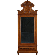 Italian Baroque Antique 1890 Walnut & Burl Armoire or Wardrobe, Beveled Mirror