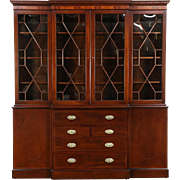 English Vintage Mahogany Breakfront China Cabinet or Bookcase & Desk