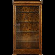 Oak 1910 Antique Bookcase, Lighted Curio Display or Bathroom Cabinet