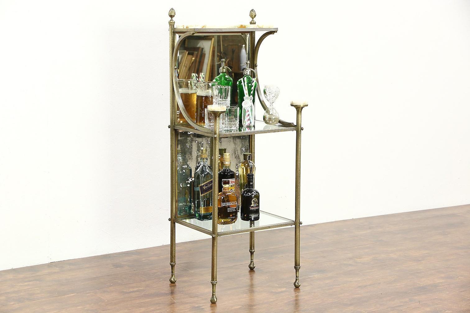 victorian antique 1900 brass onyx etagere curio bar or. Black Bedroom Furniture Sets. Home Design Ideas