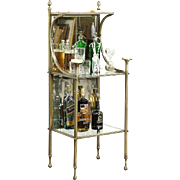 Victorian Antique 1900 Brass & Onyx Etagere Curio Bar or Towel Stand