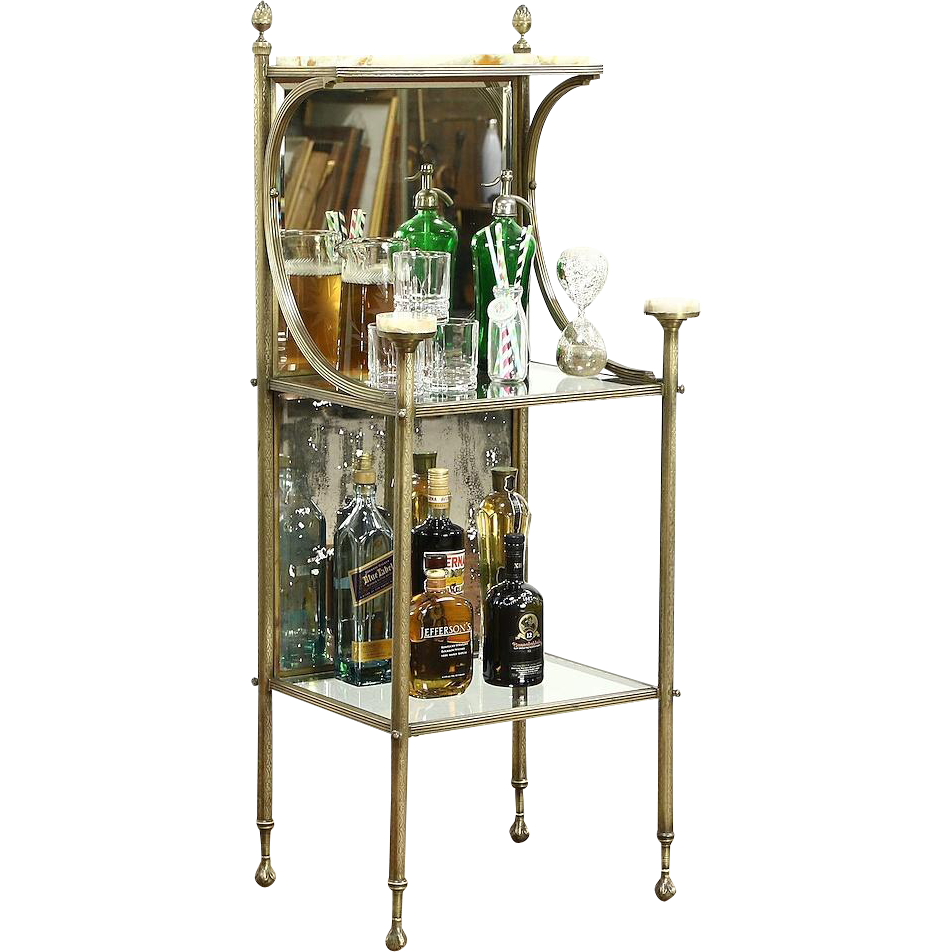 victorian antique 1900 brass onyx etagere curio bar or. Black Bedroom Furniture Sets. Home Design Ideas