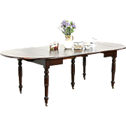 Victorian 1880 Antique Walnut Dining Table, 5 Legs, 3 Leaves Extends 7' 10""