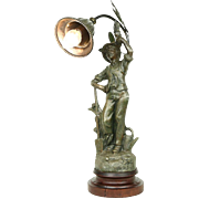 Gardener, Antique French Sculpture Lamp, Signed