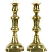 Pair Antique English Brass Candlesticks with Pushers, 8 1/2""