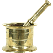 Apothecary Drug Store Brass Antique 1900 Mortar & Pestle