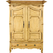Country Pine Carved French Provincial Antique 1870 Armoire or Wardrobe
