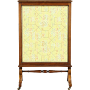 English Walnut Triple Sliding Glass Antique 1900 Fireplace Screen