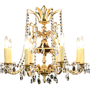 Regency Gold Plated 8 Candle Vintage Chandelier, European Cut Prisms