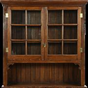 Country Pine 1890 Antique Countertop Cupboard, Original Wavy Glass