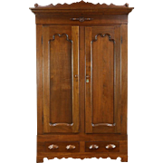 Victorian 1860 Antique Carved Walnut Armoire, Closet or Wardrobe