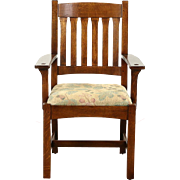 Craftsman Mission Oak Arts & Crafts Vintage Chair, Signed L&JG Stickley 2006