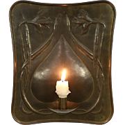 Art Nouveau 1900 Antique Patinated Wall Sconce Candleholder