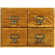 Oak Desktop 1915 Antique 4 Drawerl 3x5 Index Card File Signed Imperial