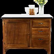 Kitchen Island or Antique 1915 Hoosier Pantry Cupboard Base, Porcelain Top
