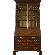 Oak English Vintage Secretary Desk & Bookcase, Secret Compartments