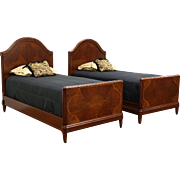 Pair 1925 Antique English Art Deco Twin Beds, Rosewood & Burl Marquetry