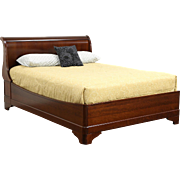 Cherry Queen Size Traditional Sleigh Bed, Signed Grange of France