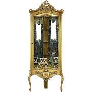Corner Vintage Curved Glass Curio or China Display Cabinet, Bronze Finish