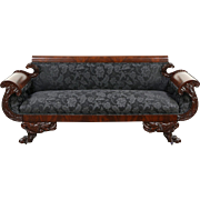 Empire 1825 Antique Mahogany Sofa, Carved Acanthus & Paw Feet, New Upholstery