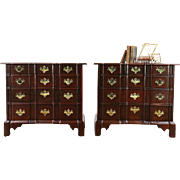 Pair of Traditional Georgian Blockfront Vintage Mahogany Chests or Nightstands