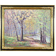 Forest Pond Scene, Original Impressionist Oil Painting, Signed Fields, 1926