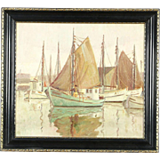 Sailboats at Harbor Scene, Antique 1900's Original Oil Painting, Signed