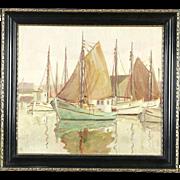 Sailboats at Harbor Scene, Antique 1900's Original Oil Painting, Signed